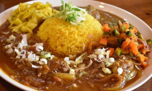 スパイスカレーの二盛と副菜で味の変化が最後まで楽しいヤマナカリー別邸