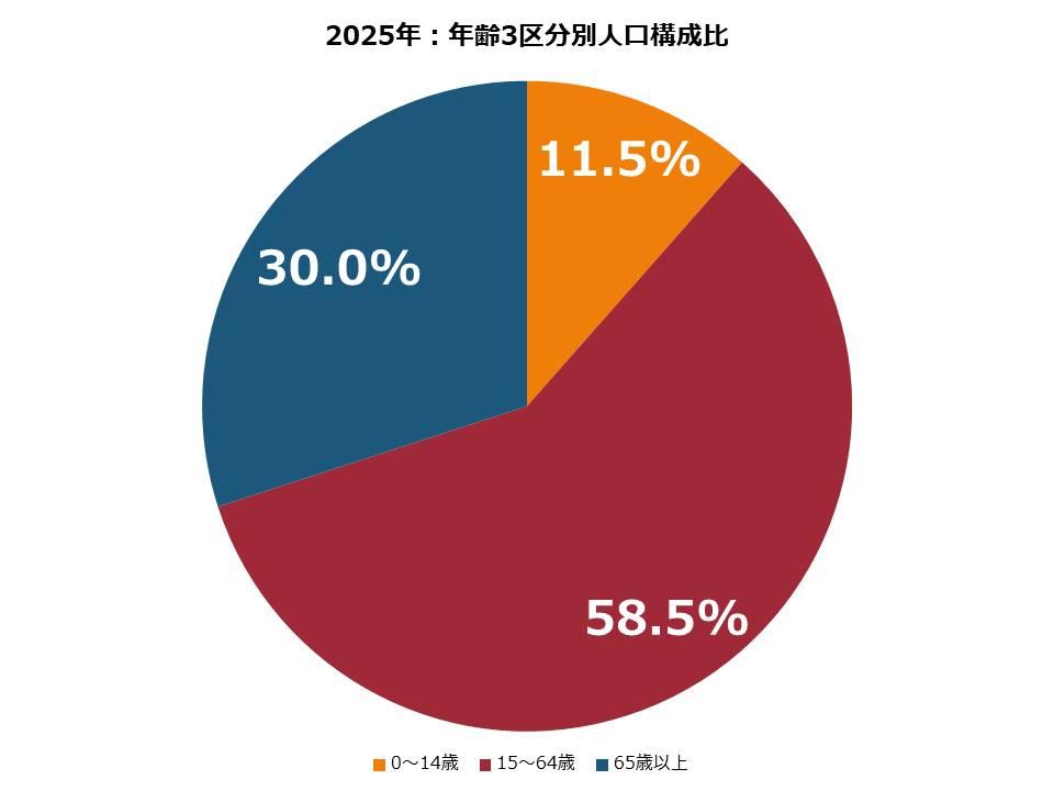2025年:年齢3区分別人口構成比