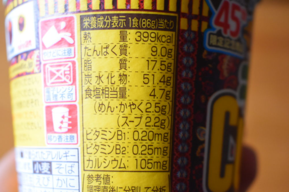 カロリーは399kcal